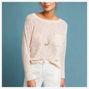 ANTHROPOLOGIE Maeve Cream Marled Knit Sweater